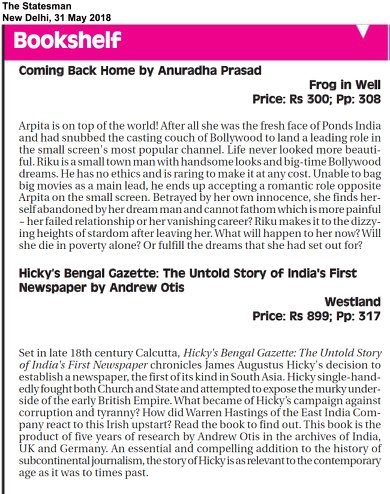 The Statesman Recommends Hicky's Bengal Gazette: The Untold Story of India's First Newspaper by Andrew Otis