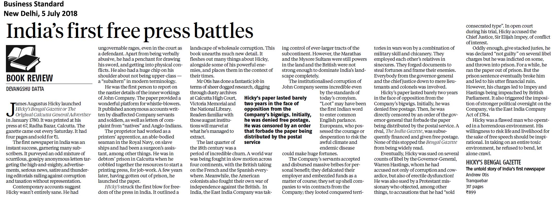 Business Standard Devangshu Datta Review of Hickys Bengal Gazette