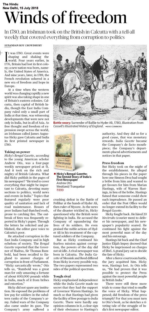 The Hindu Hicky's Bengal Gazette review Andrew Otis